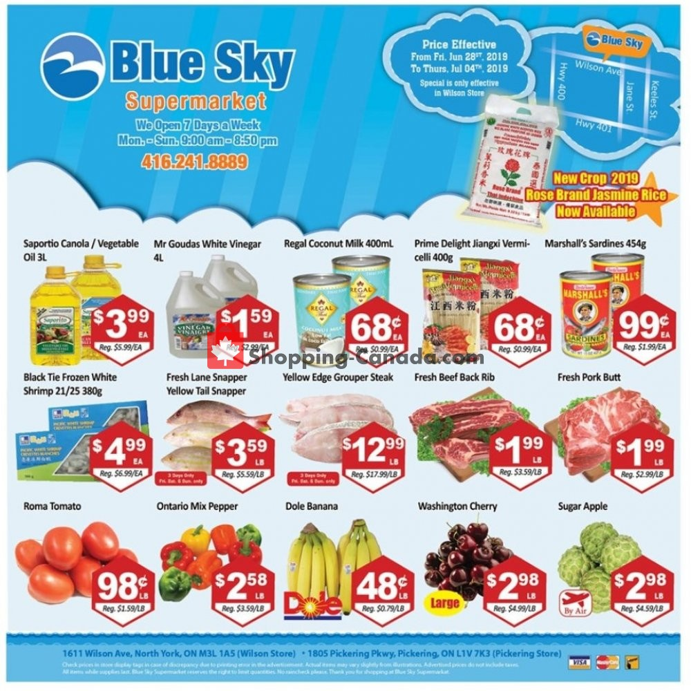 Flyer Blue Sky Supermarket Canada - from Friday June 28, 2019 to Thursday July 4, 2019