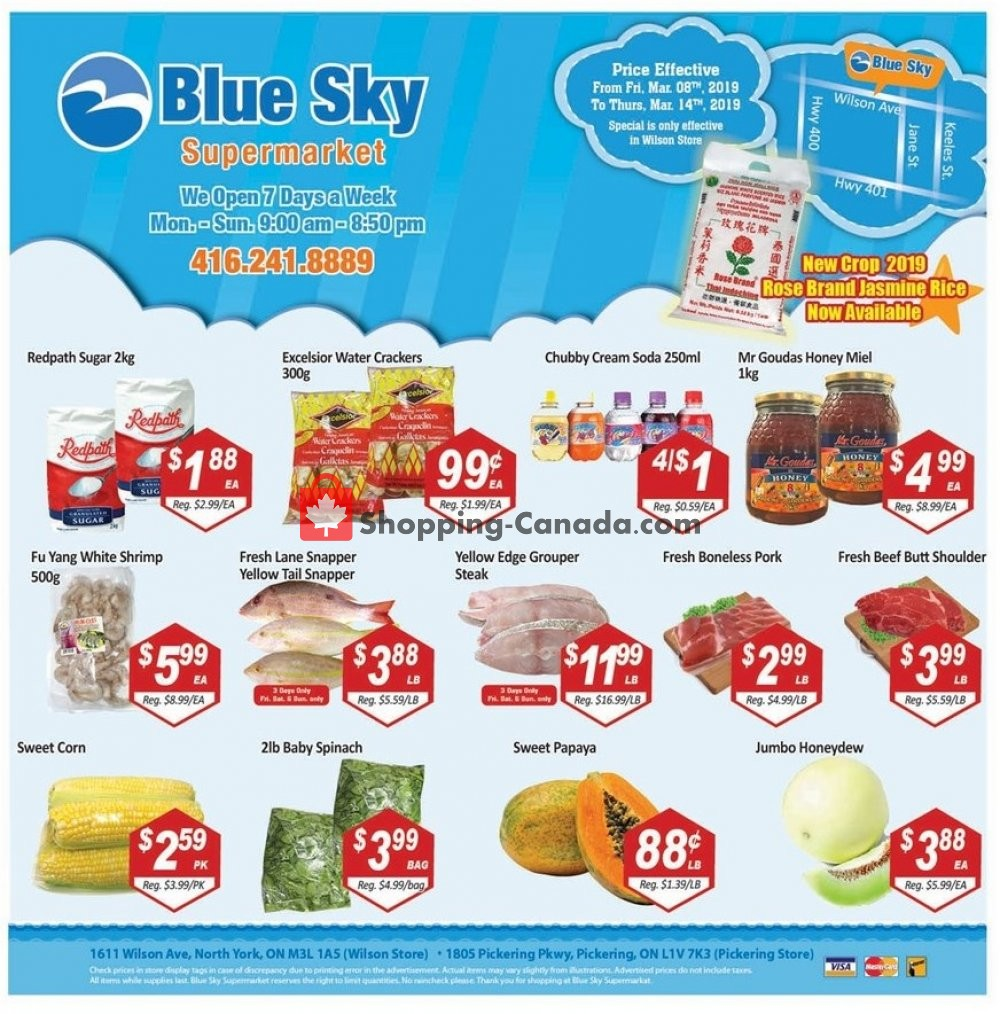 Flyer Blue Sky Supermarket Canada - from Friday March 8, 2019 to Thursday March 14, 2019