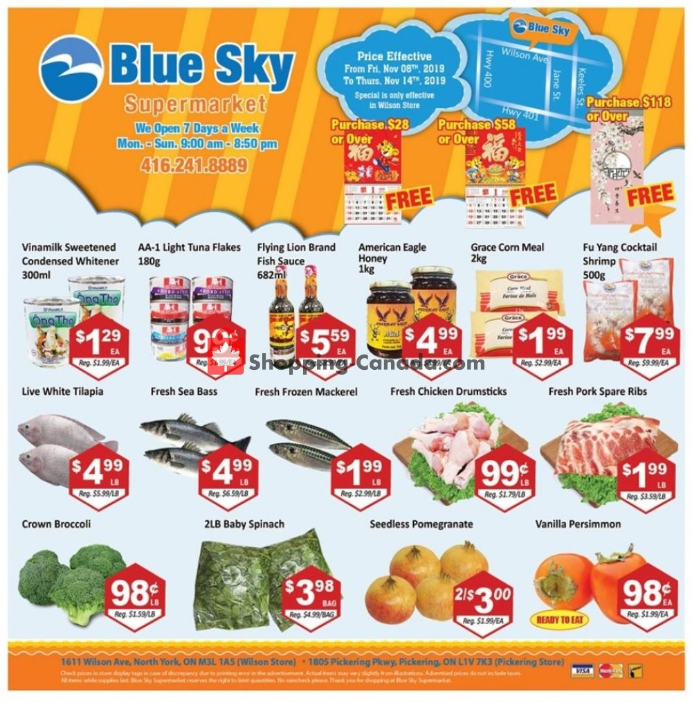 Flyer Blue Sky Supermarket Canada - from Friday November 8, 2019 to Thursday November 14, 2019