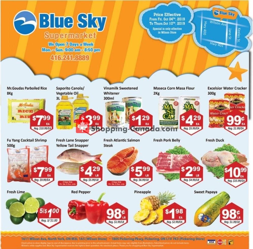 Flyer Blue Sky Supermarket Canada - from Friday October 4, 2019 to Thursday October 10, 2019