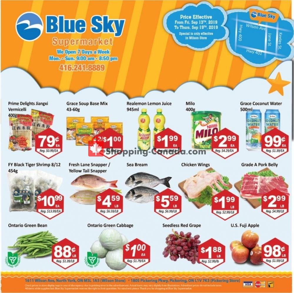 Flyer Blue Sky Supermarket Canada - from Friday September 13, 2019 to Thursday September 19, 2019