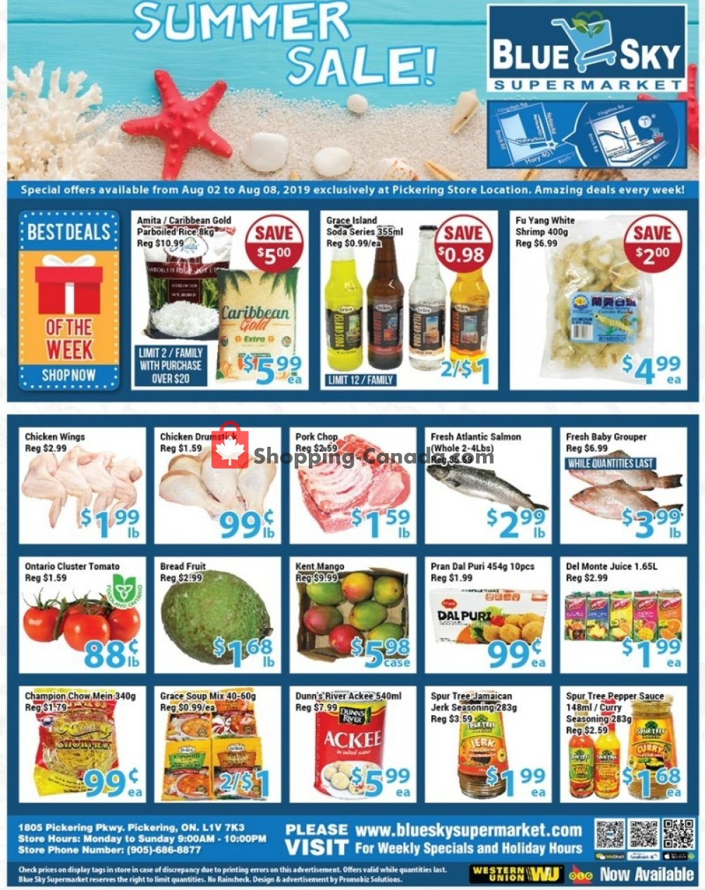 Flyer Blue Sky Supermarket Canada - from Friday August 2, 2019 to Thursday August 8, 2019