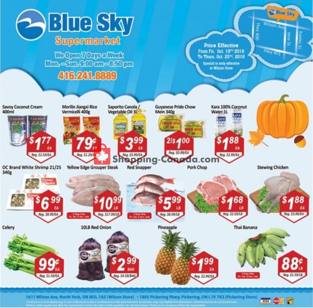 Flyer Blue Sky Supermarket Canada - from Friday October 19, 2018 to Thursday October 25, 2018