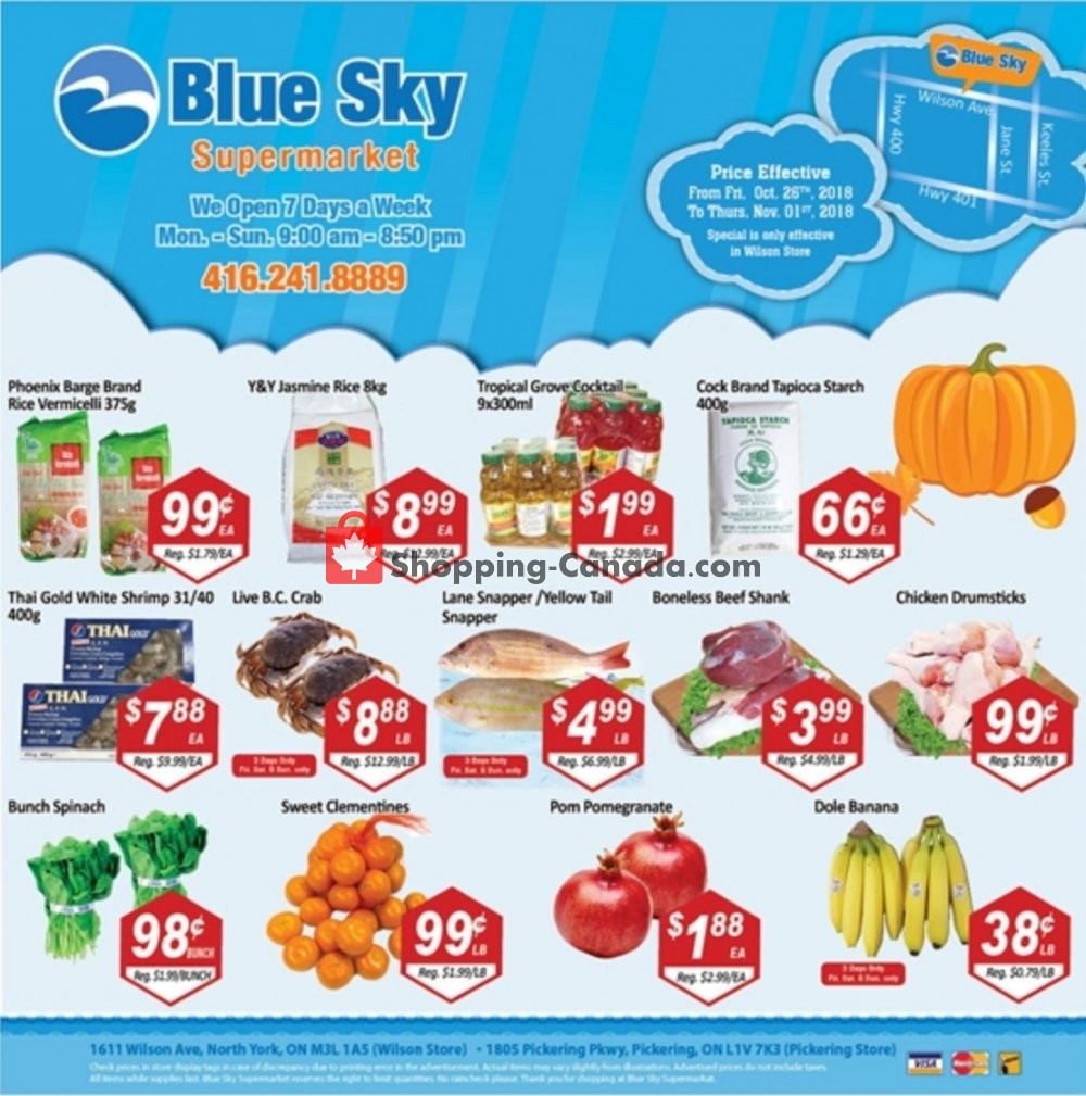 Flyer Blue Sky Supermarket Canada - from Friday October 26, 2018 to Thursday November 1, 2018
