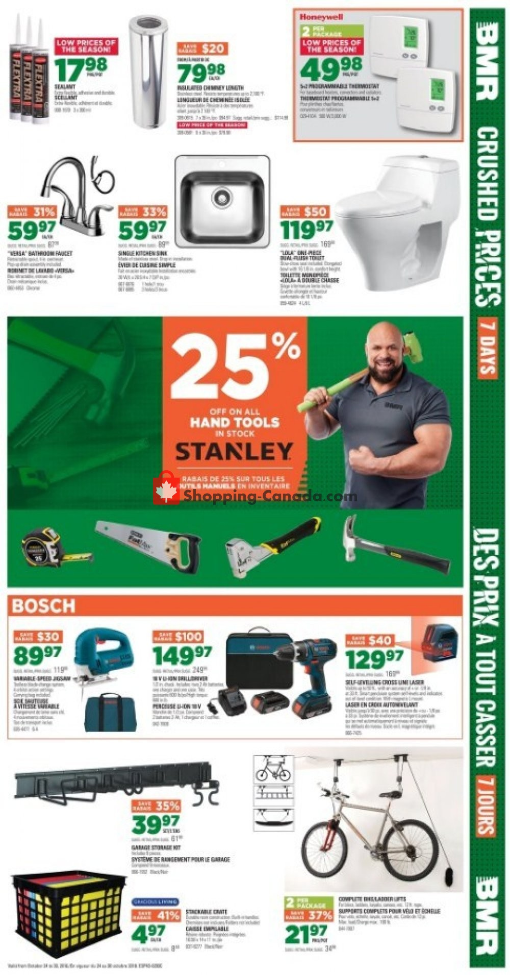 Flyer BMR Canada - from Wednesday October 24, 2018 to Tuesday October 30, 2018