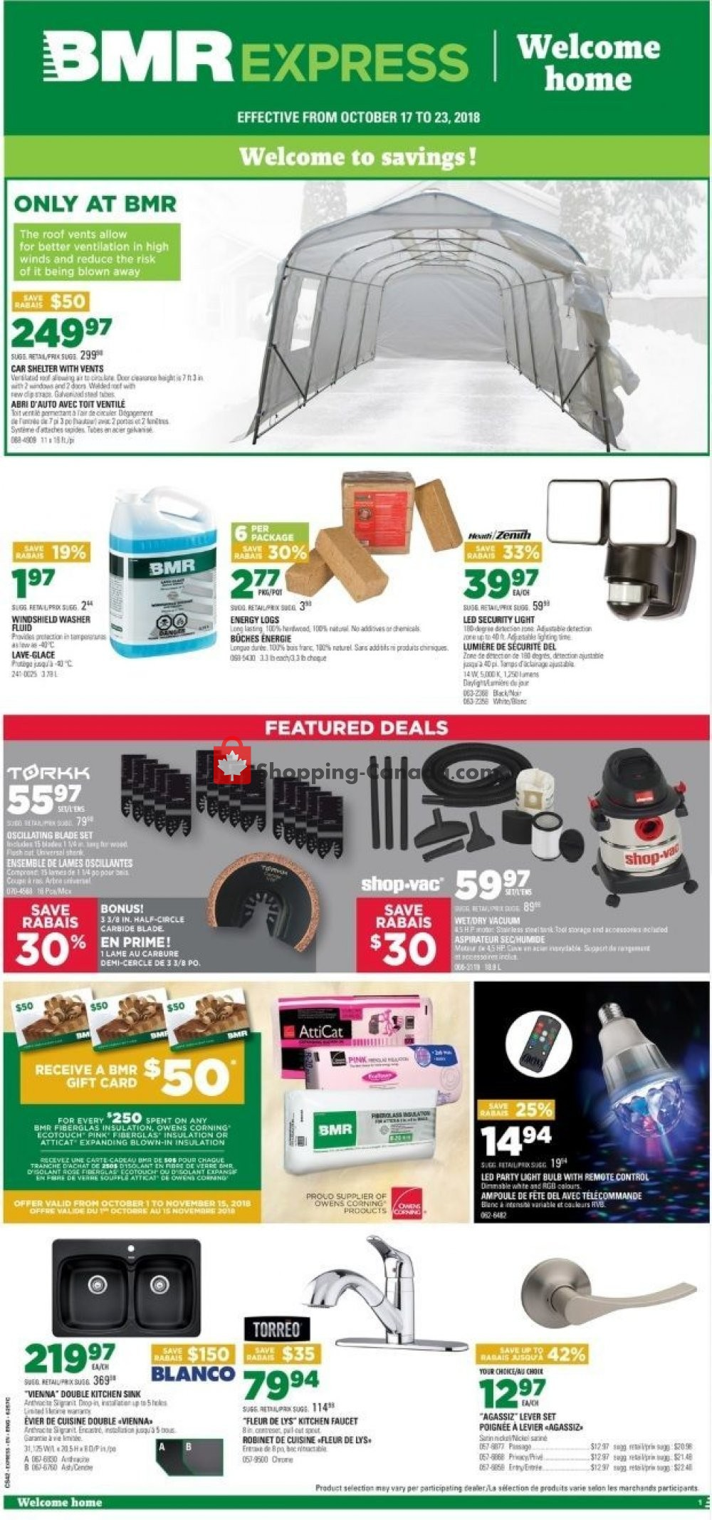 Flyer BMR Canada - from Wednesday October 17, 2018 to Tuesday October 23, 2018