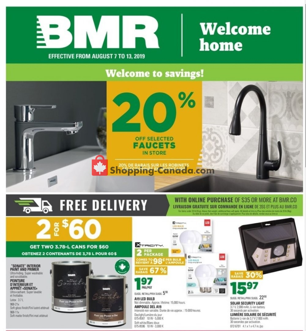 Flyer BMR Canada - from Wednesday August 7, 2019 to Tuesday August 13, 2019