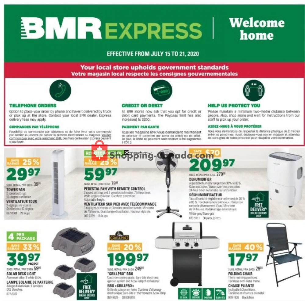 Flyer BMR Canada - from Wednesday July 15, 2020 to Tuesday July 21, 2020