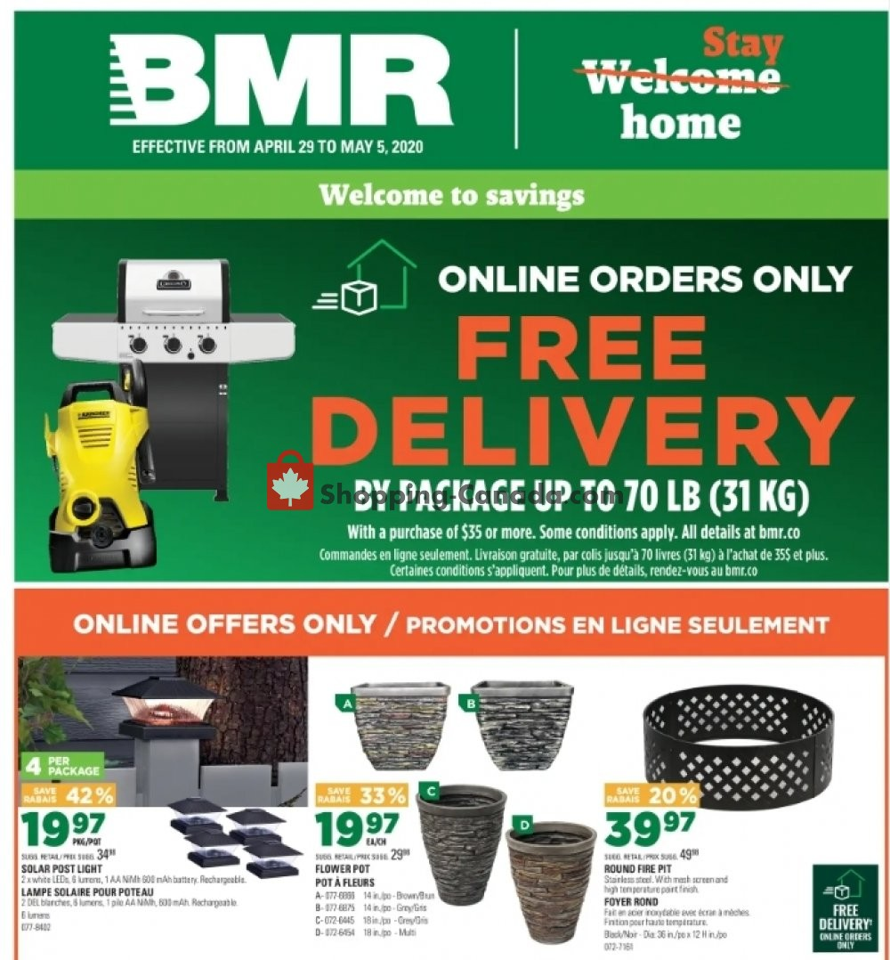 Flyer BMR Canada - from Wednesday April 29, 2020 to Tuesday May 5, 2020
