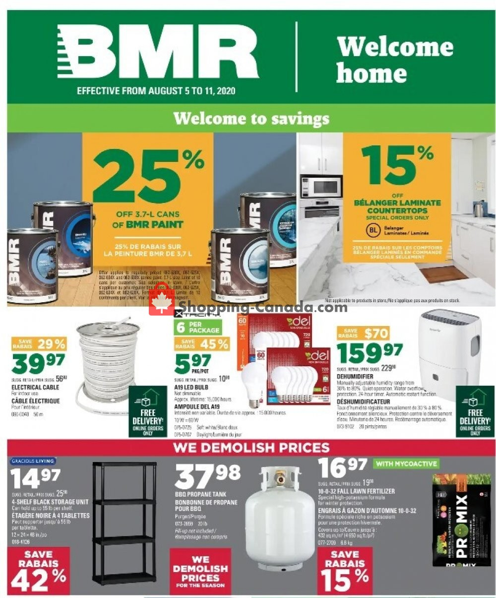 Flyer BMR Canada - from Wednesday August 5, 2020 to Tuesday August 11, 2020