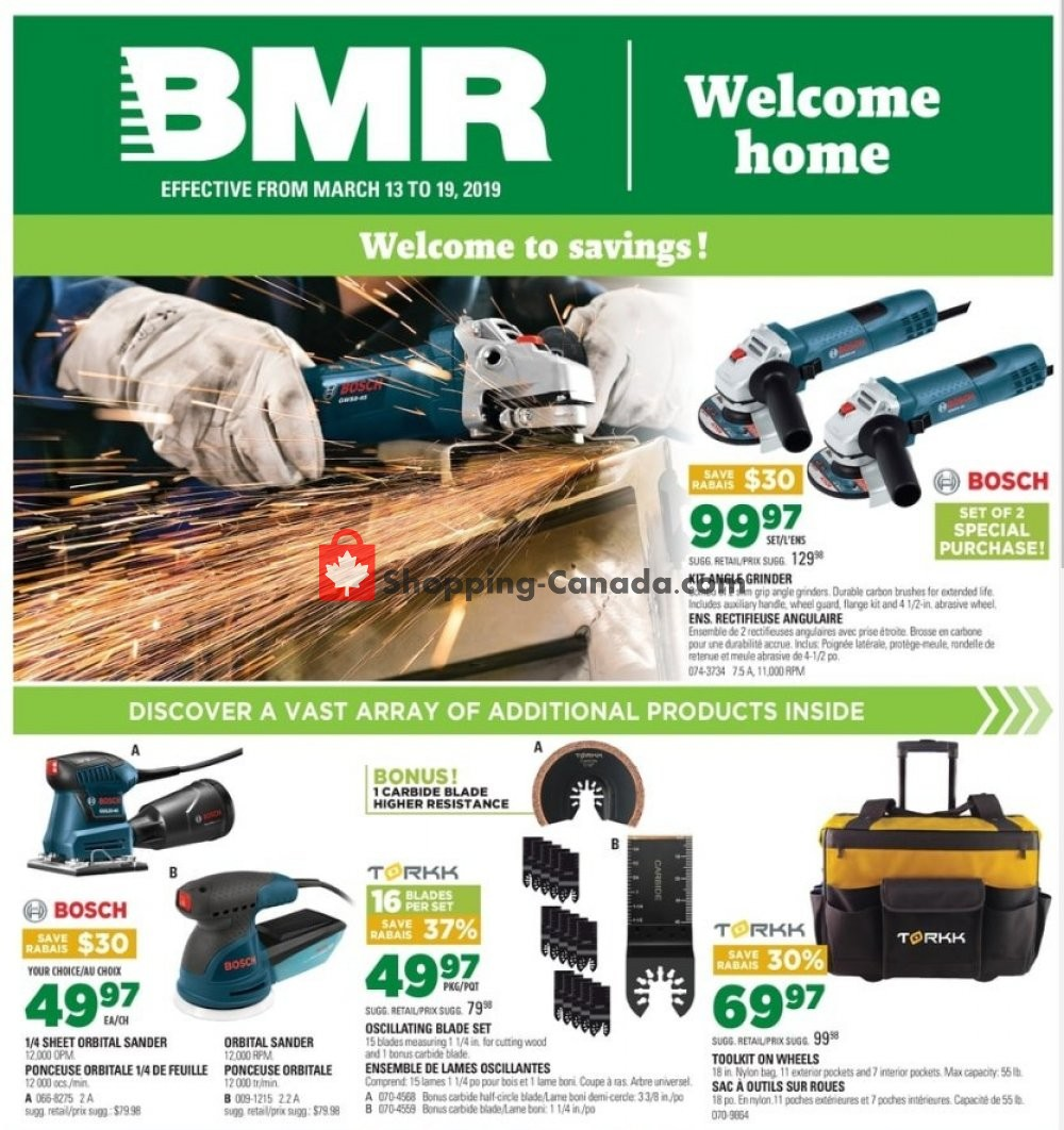 Flyer BMR Canada - from Wednesday March 13, 2019 to Tuesday March 19, 2019