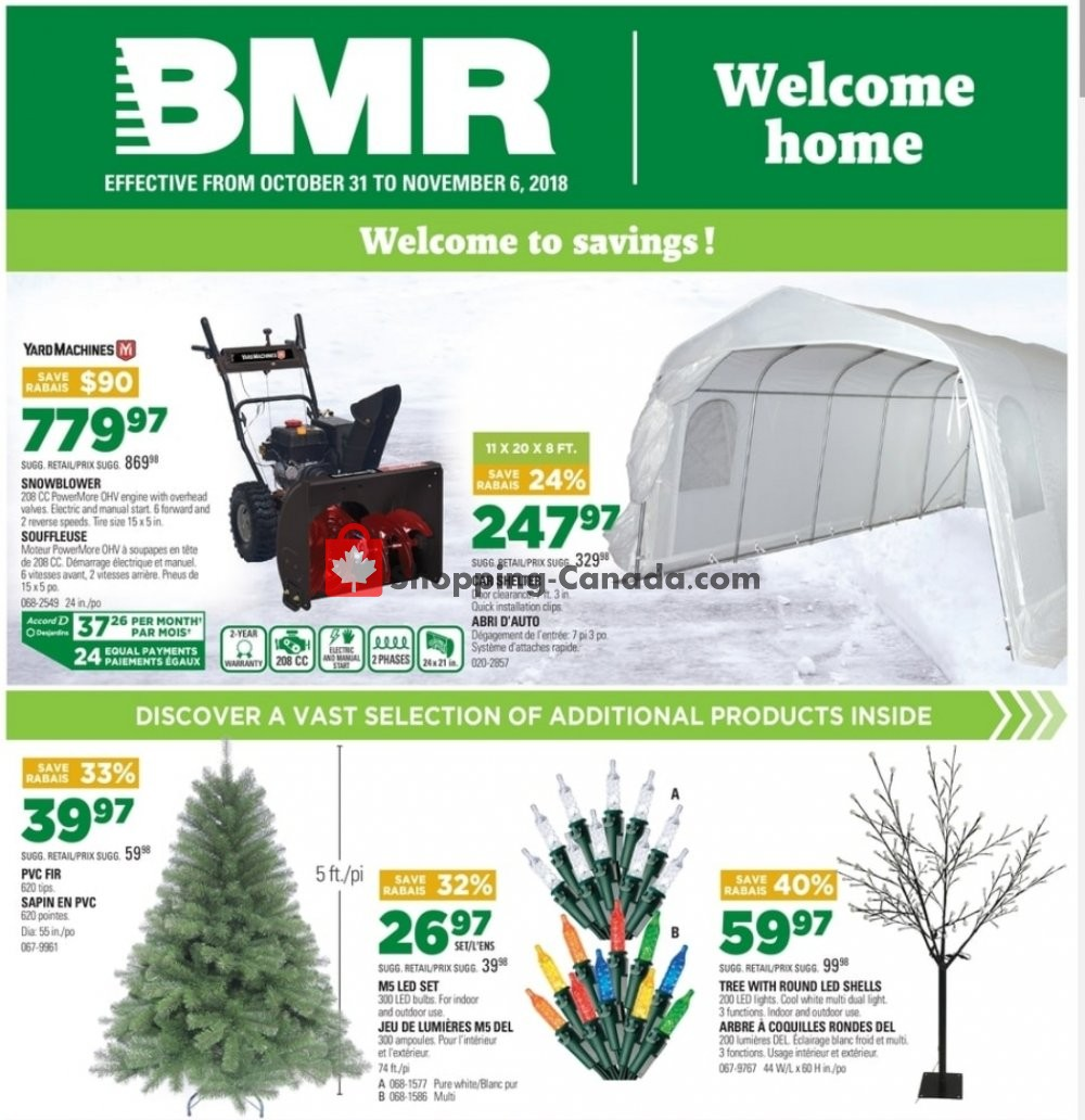 Flyer BMR Canada - from Wednesday October 31, 2018 to Tuesday November 6, 2018