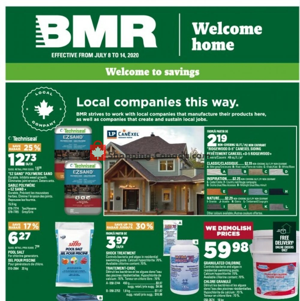 Flyer BMR Canada - from Wednesday July 8, 2020 to Tuesday July 14, 2020