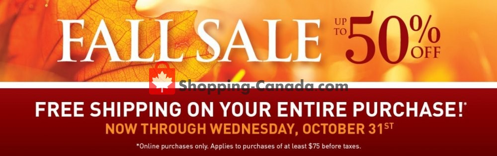 Flyer Bombay Co. Canada - from Wednesday October 24, 2018 to Wednesday October 31, 2018