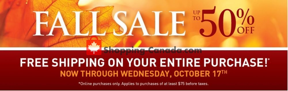 Flyer Bombay Co. Canada - from Sunday October 14, 2018 to Wednesday October 17, 2018