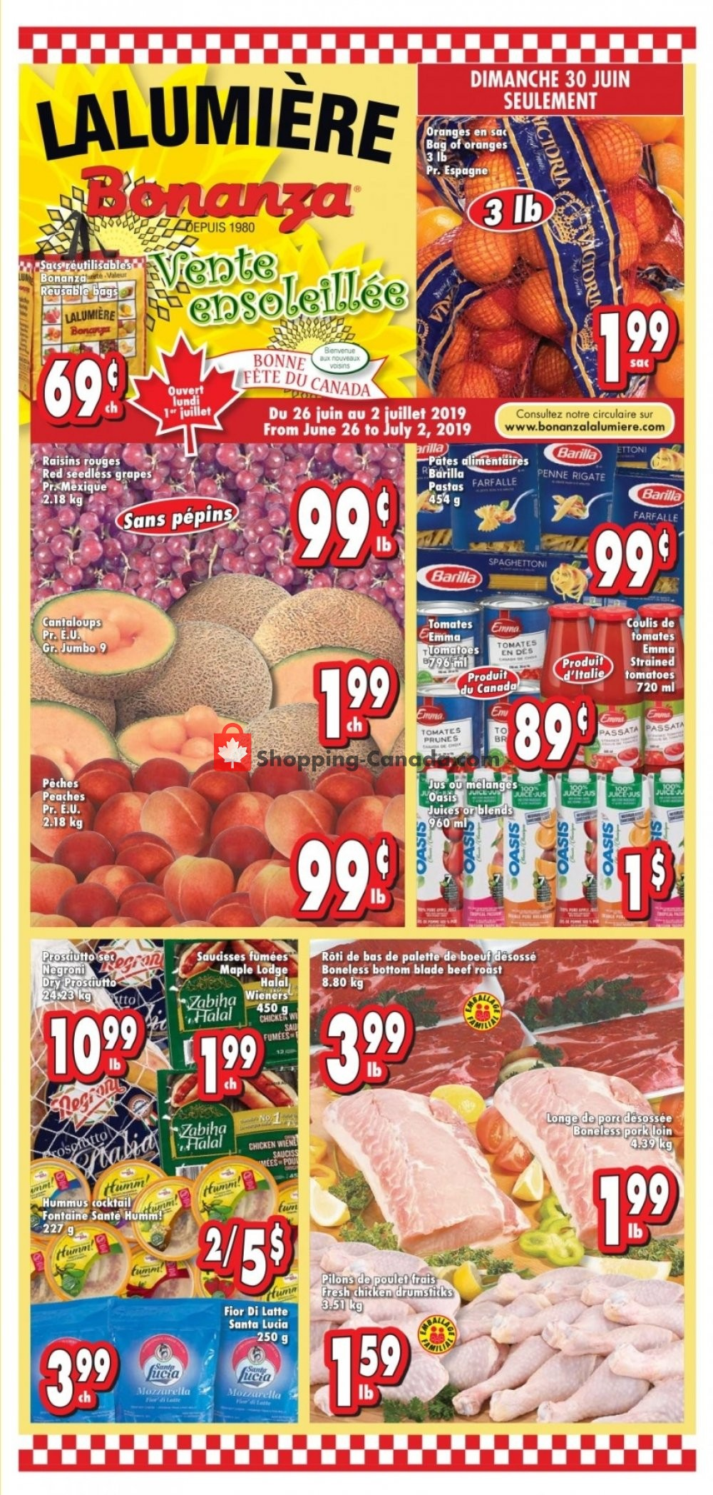 Flyer Bonanza Canada - from Wednesday June 26, 2019 to Tuesday July 2, 2019