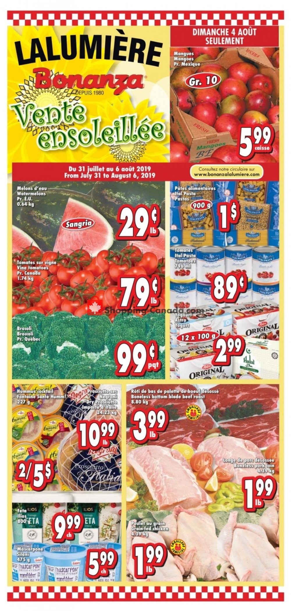 Flyer Bonanza Canada - from Wednesday July 31, 2019 to Tuesday August 6, 2019