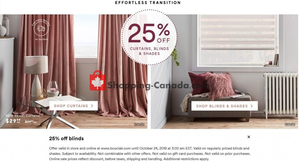 Flyer And Weekly Ads Bouclair Canada 25 Off Curtains Blinds