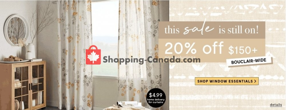Flyer Bouclair Canada - from Wednesday April 29, 2020 to Tuesday May 5, 2020