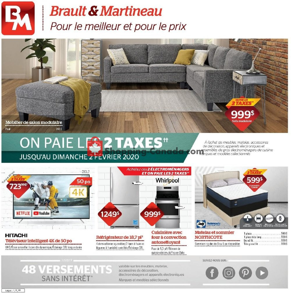 Flyer Brault & Martineau Canada - from Thursday January 30, 2020 to Sunday February 2, 2020
