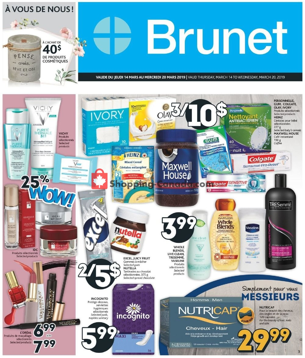 Flyer Brunet Canada - from Thursday March 14, 2019 to Wednesday March 20, 2019