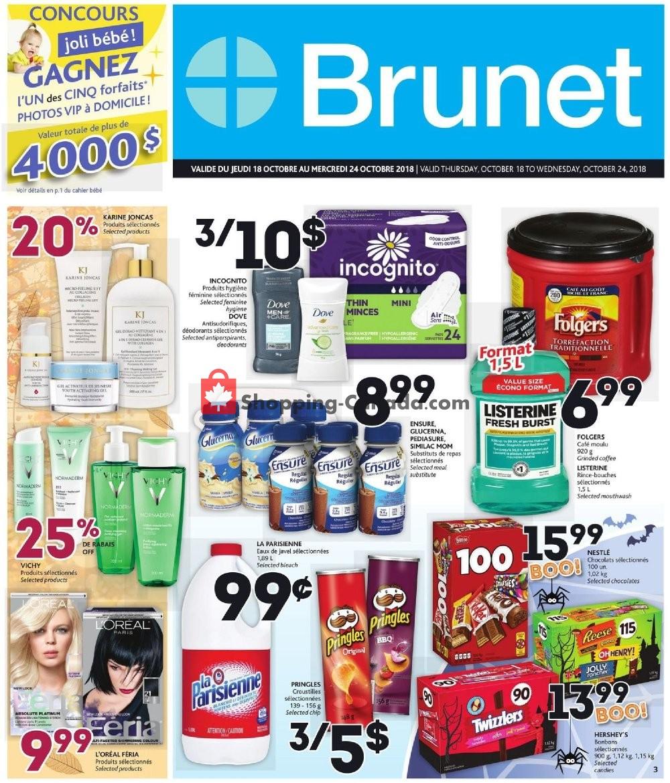 Flyer Brunet Canada - from Thursday October 18, 2018 to Wednesday October 24, 2018