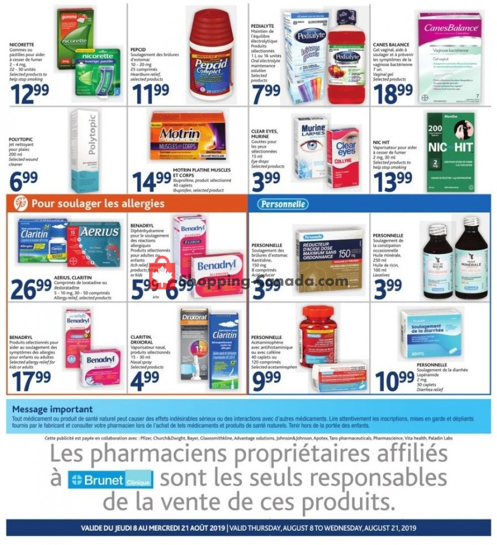 Flyer Brunet Canada - from Thursday August 8, 2019 to Wednesday August 21, 2019
