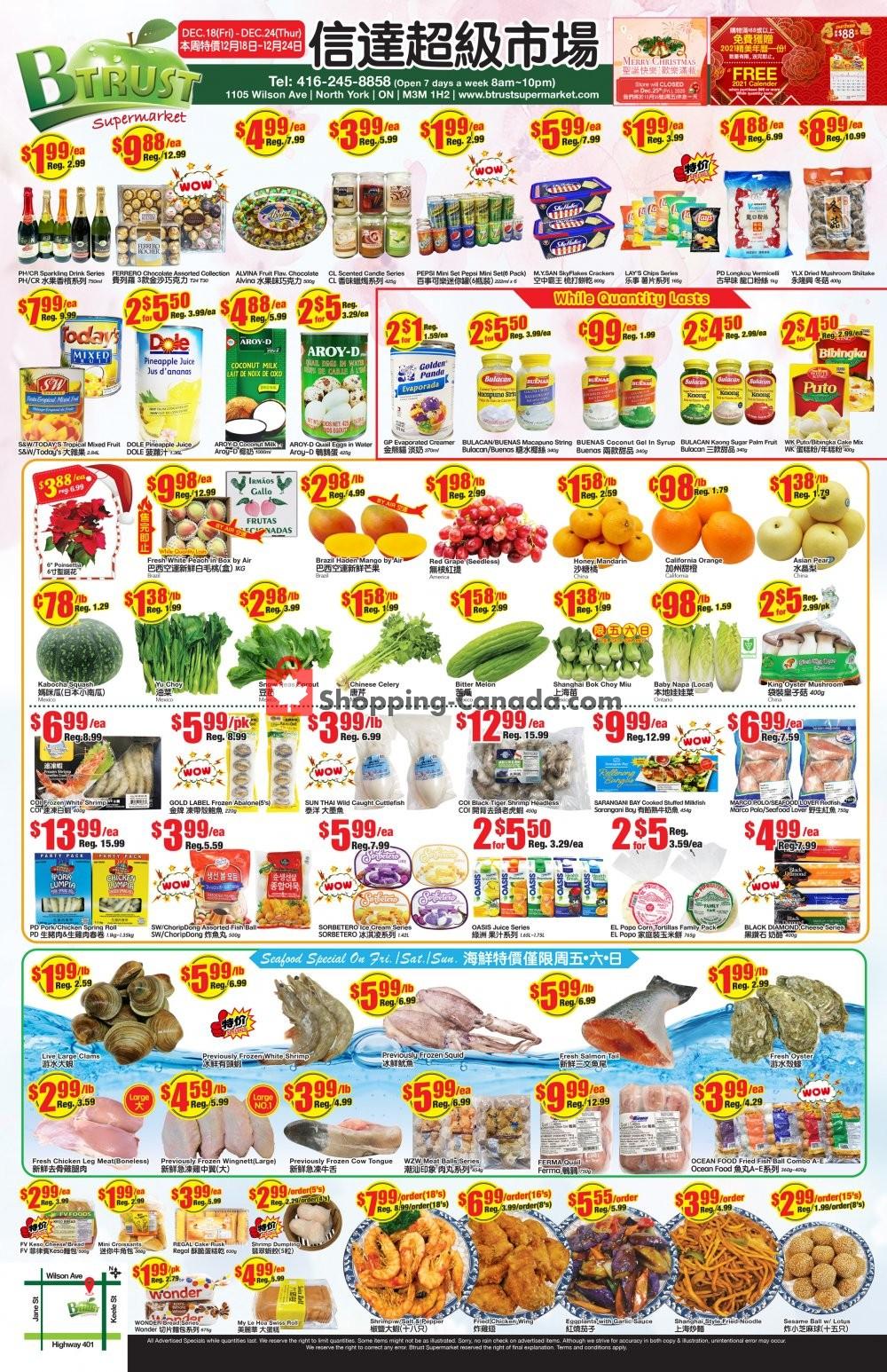 Flyer Btrust Supermarket Canada - from Friday December 18, 2020 to Thursday December 24, 2020