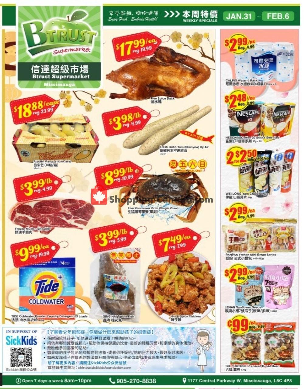 Flyer Btrust Supermarket Canada - from Friday January 31, 2020 to Thursday February 6, 2020