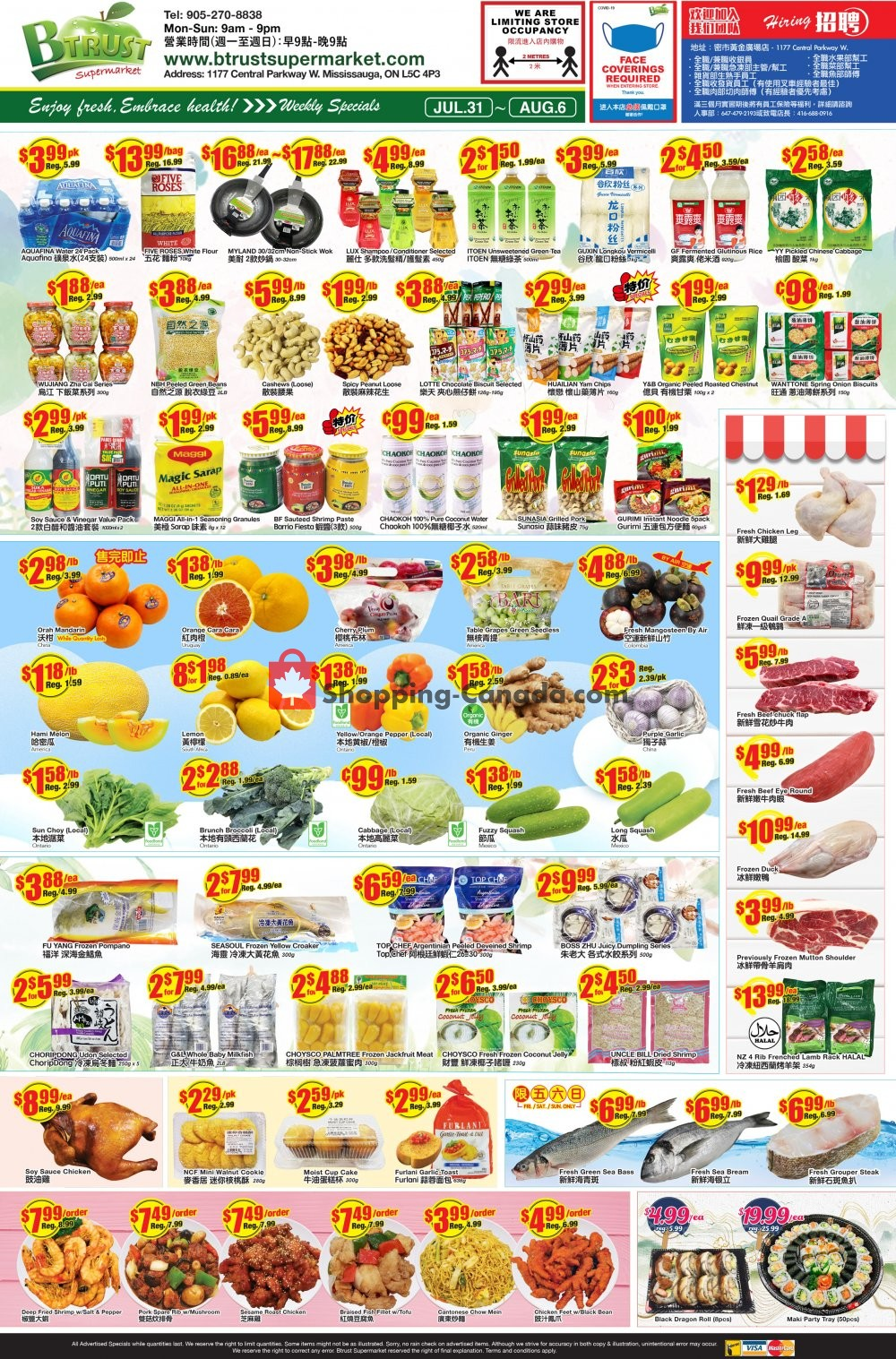 Flyer Btrust Supermarket Canada - from Friday July 31, 2020 to Thursday August 6, 2020