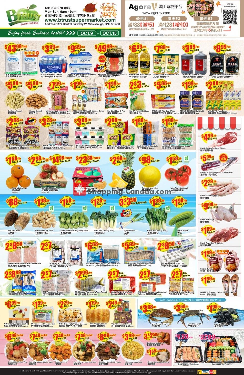 Flyer Btrust Supermarket Canada - from Friday October 9, 2020 to Thursday October 15, 2020