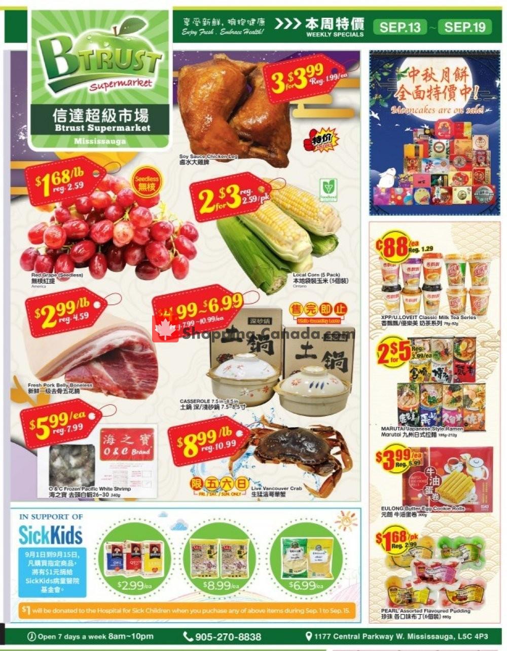 Flyer Btrust Supermarket Canada - from Friday September 13, 2019 to Thursday September 19, 2019