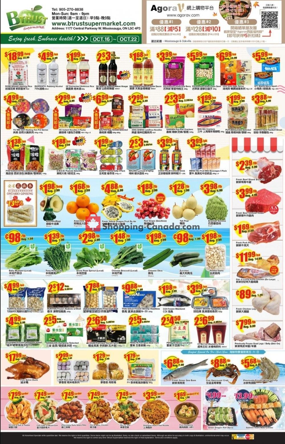 Flyer Btrust Supermarket Canada - from Friday October 16, 2020 to Thursday October 22, 2020