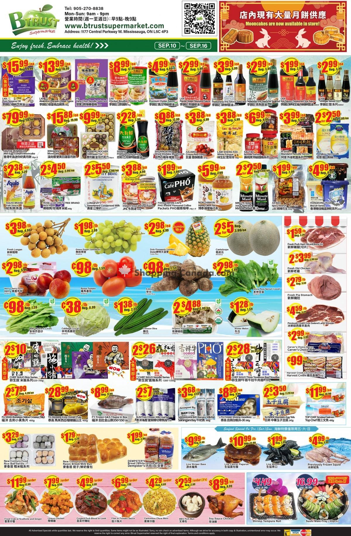 Flyer Btrust Supermarket Canada - from Friday September 10, 2021 to Thursday September 16, 2021