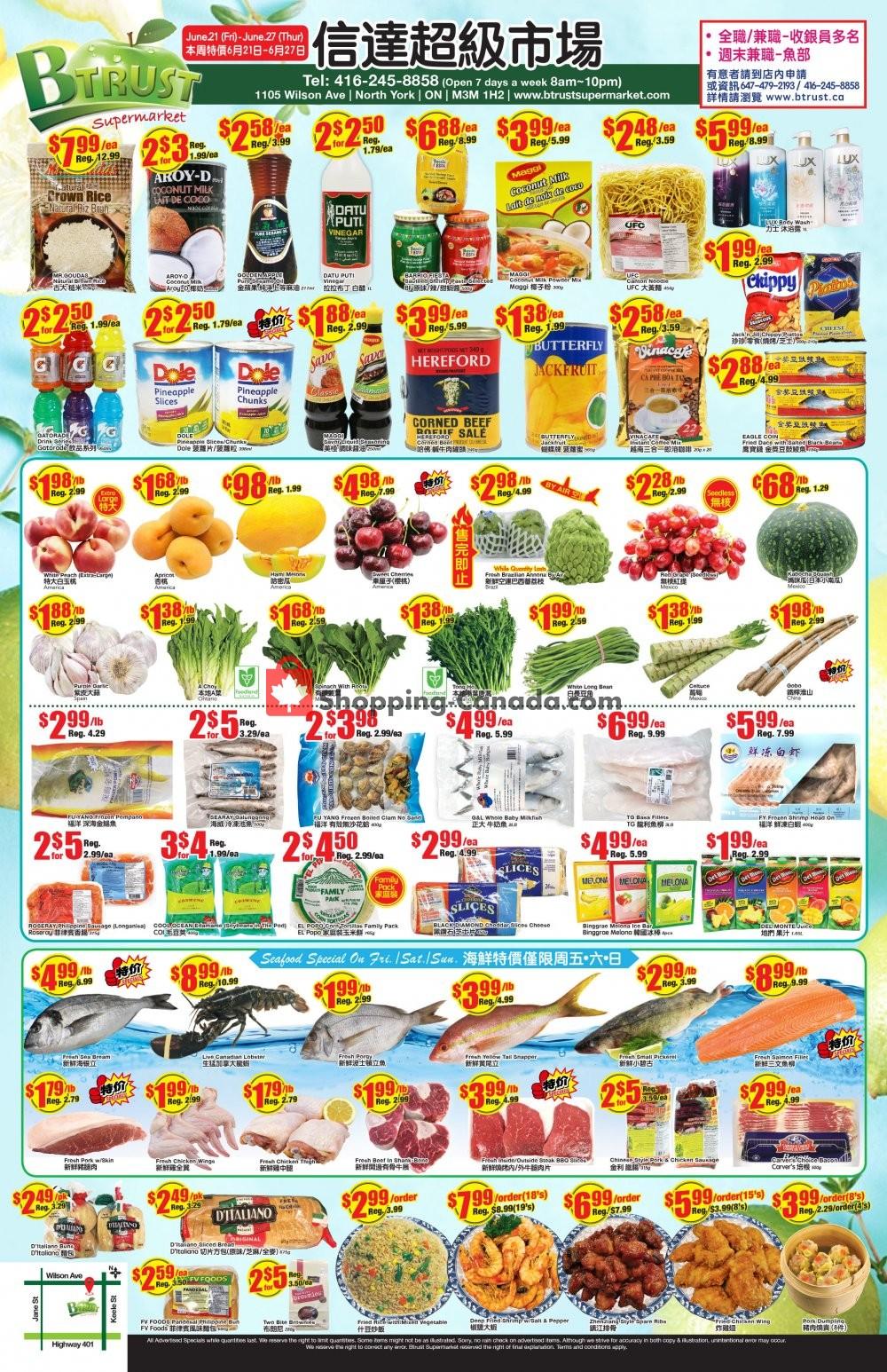 Flyer Btrust Supermarket Canada - from Friday June 21, 2019 to Thursday June 27, 2019