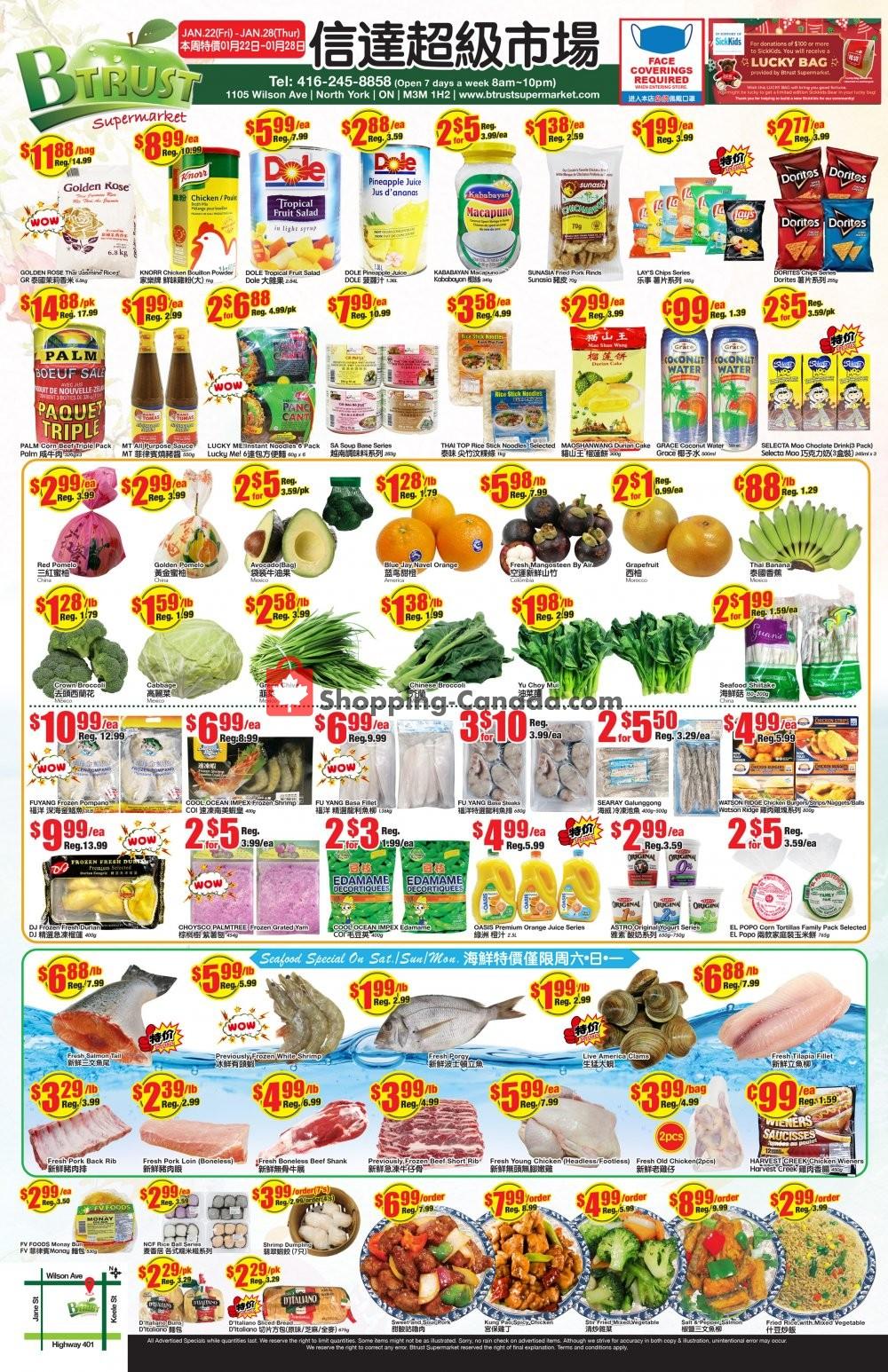 Flyer Btrust Supermarket Canada - from Friday January 22, 2021 to Thursday January 28, 2021