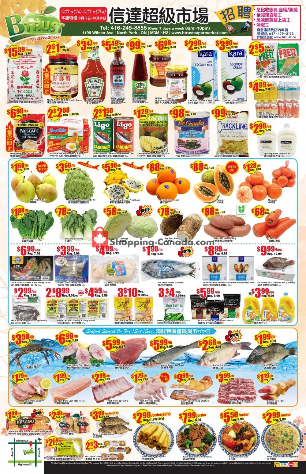Flyer Btrust Supermarket Canada - from Friday October 12, 2018 to Thursday October 18, 2018
