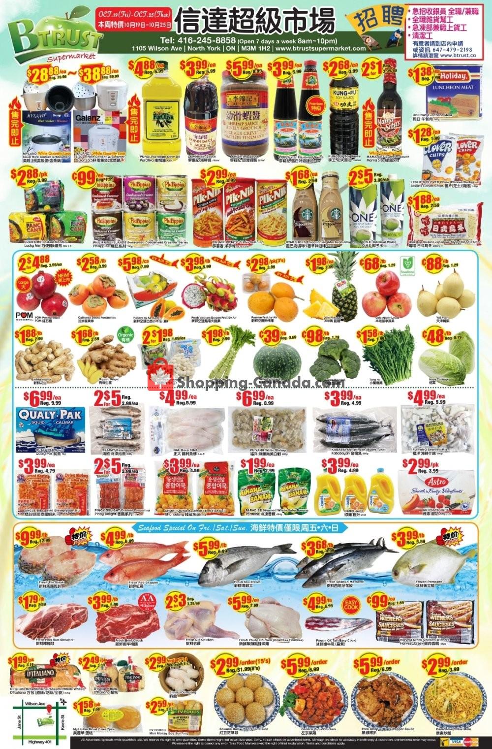 Flyer Btrust Supermarket Canada - from Friday October 19, 2018 to Thursday October 25, 2018