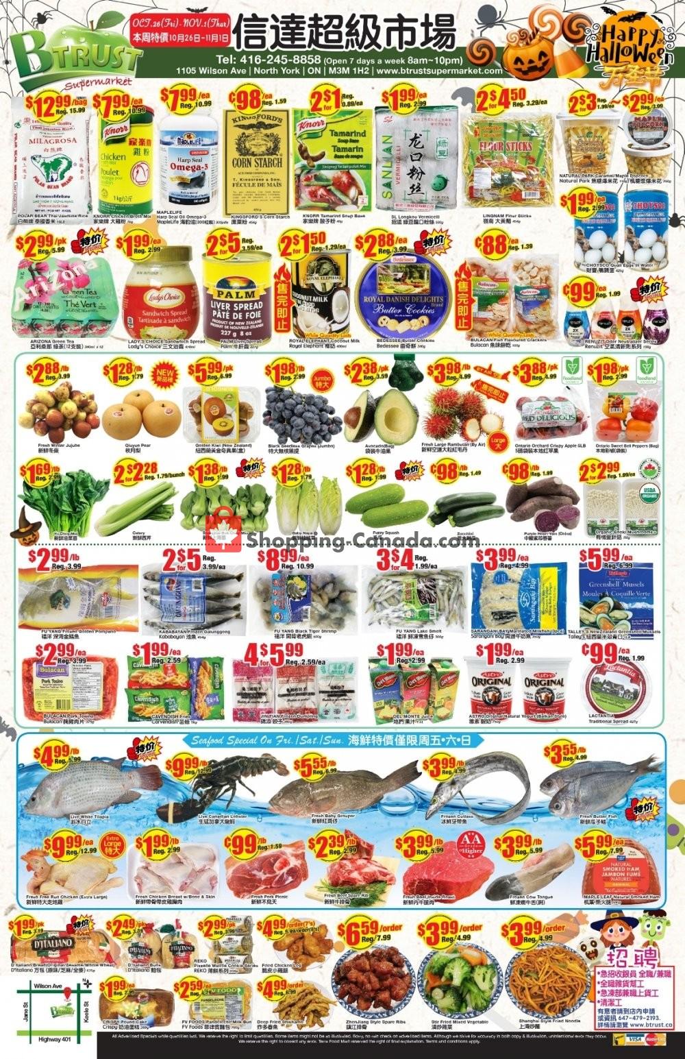 Flyer Btrust Supermarket Canada - from Friday October 26, 2018 to Thursday November 1, 2018