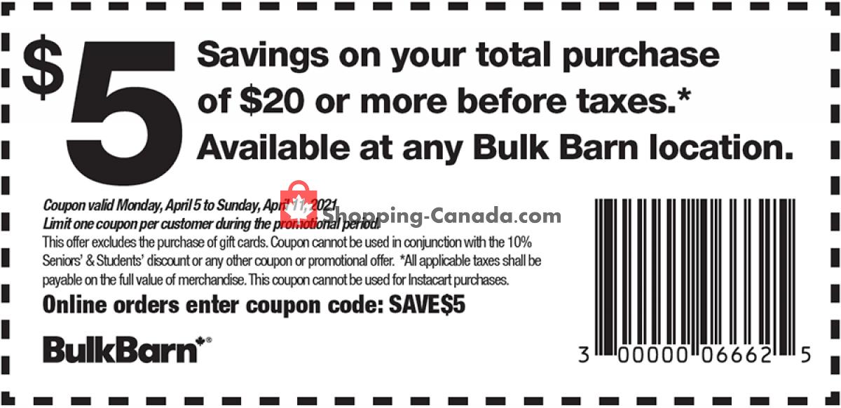 Flyer Bulk Barn Canada - from Monday April 5, 2021 to Sunday April 11, 2021