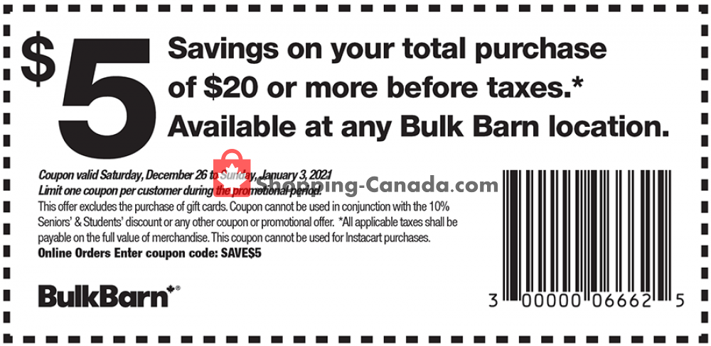 Flyer Bulk Barn Canada - from Saturday December 26, 2020 to Sunday January 3, 2021