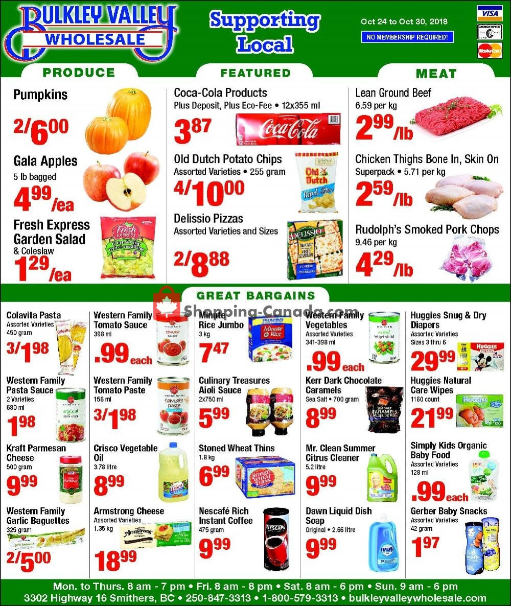 Flyer Bulkley Valley Wholesale Canada - from Wednesday October 24, 2018 to Tuesday October 30, 2018