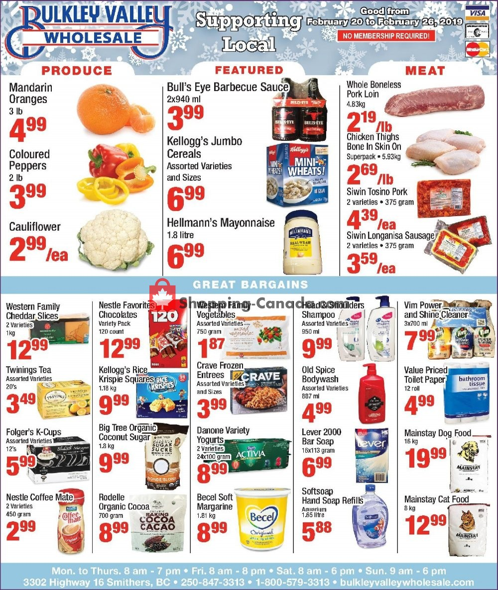Flyer Bulkley Valley Wholesale Canada - from Wednesday February 20, 2019 to Tuesday February 26, 2019