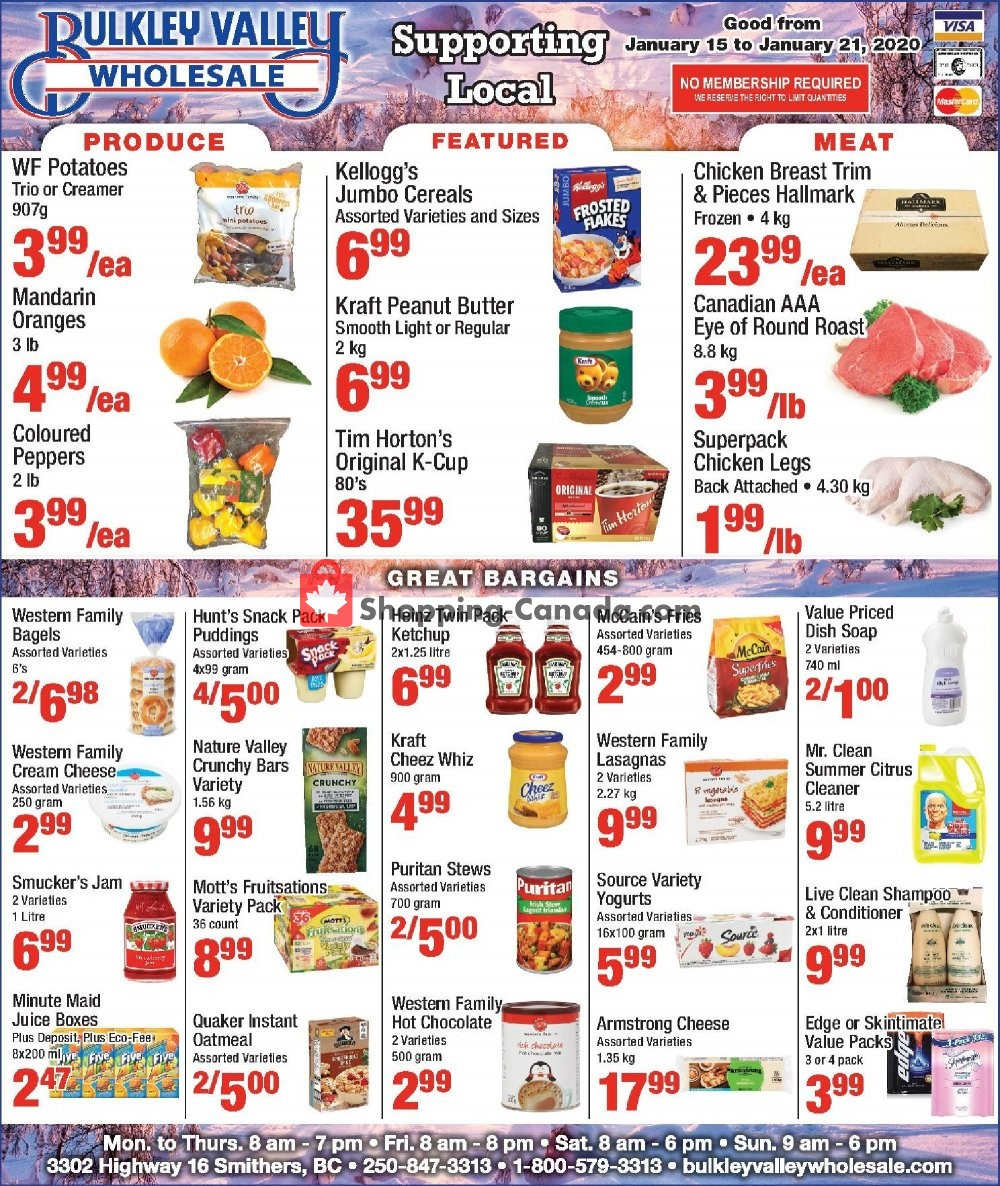 Flyer Bulkley Valley Wholesale Canada - from Wednesday January 15, 2020 to Tuesday January 21, 2020