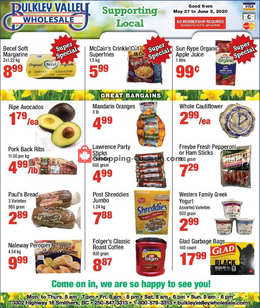 Flyer Bulkley Valley Wholesale Canada - from Wednesday May 27, 2020 to Tuesday June 2, 2020