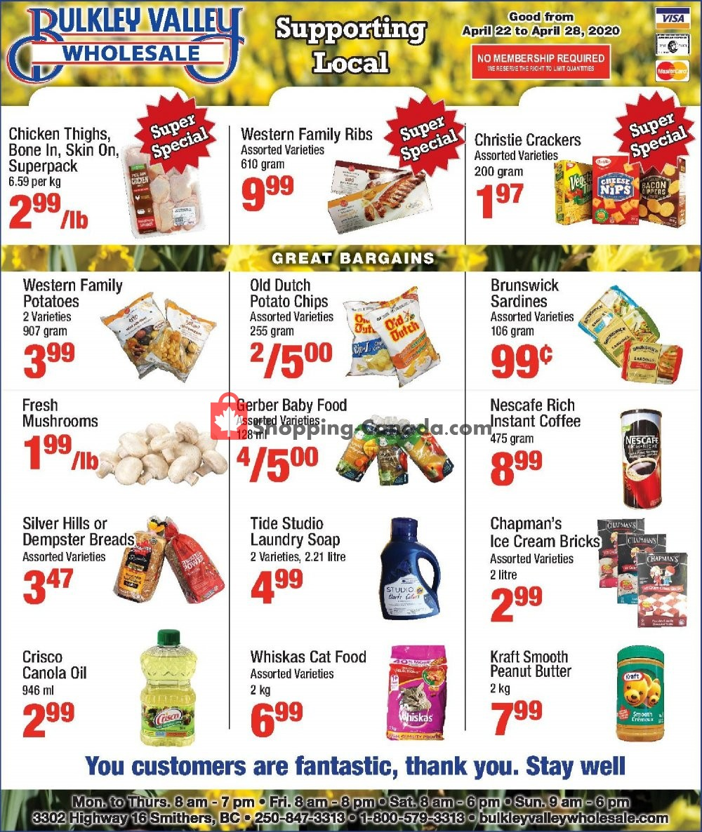 Flyer Bulkley Valley Wholesale Canada - from Wednesday April 22, 2020 to Tuesday April 28, 2020