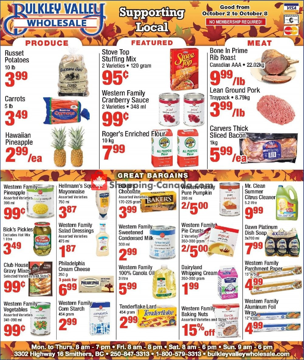 Flyer Bulkley Valley Wholesale Canada - from Wednesday October 2, 2019 to Tuesday October 8, 2019
