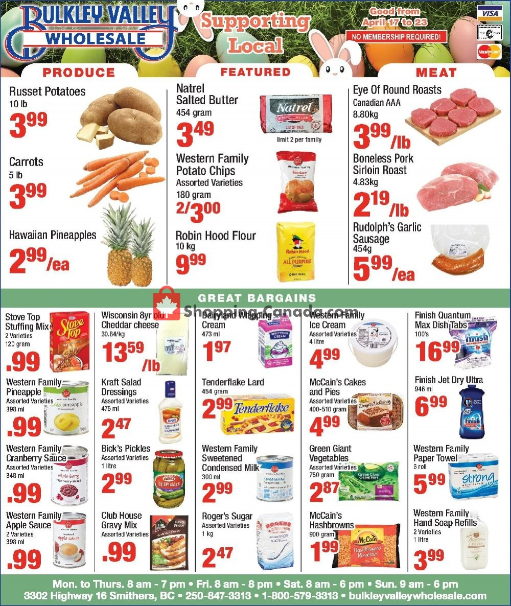 Flyer Bulkley Valley Wholesale Canada - from Wednesday April 17, 2019 to Tuesday April 23, 2019