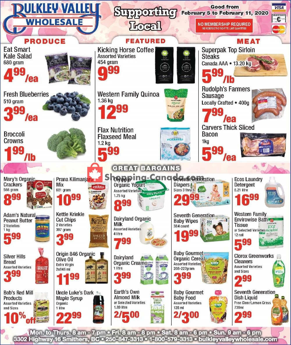Flyer Bulkley Valley Wholesale Canada - from Wednesday February 5, 2020 to Tuesday February 11, 2020