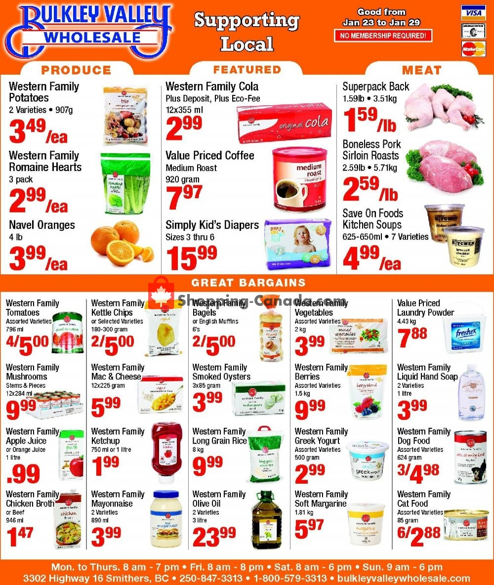 Flyer Bulkley Valley Wholesale Canada - from Wednesday January 23, 2019 to Tuesday January 29, 2019